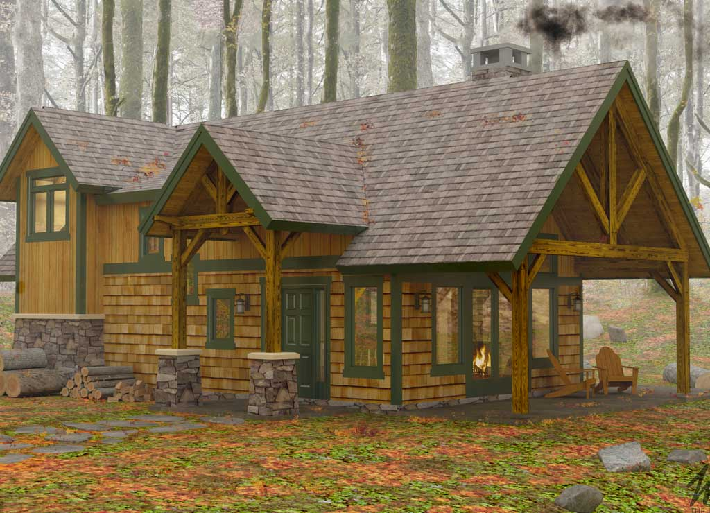 Featured house of the month sylvan cottage woodhouse for Timber frame farmhouse plans