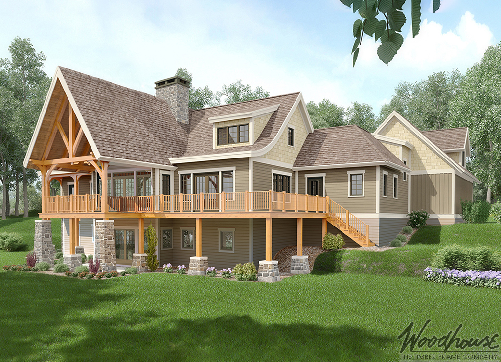 Aerie woodhouse the timber frame company for Adirondack lake house plans