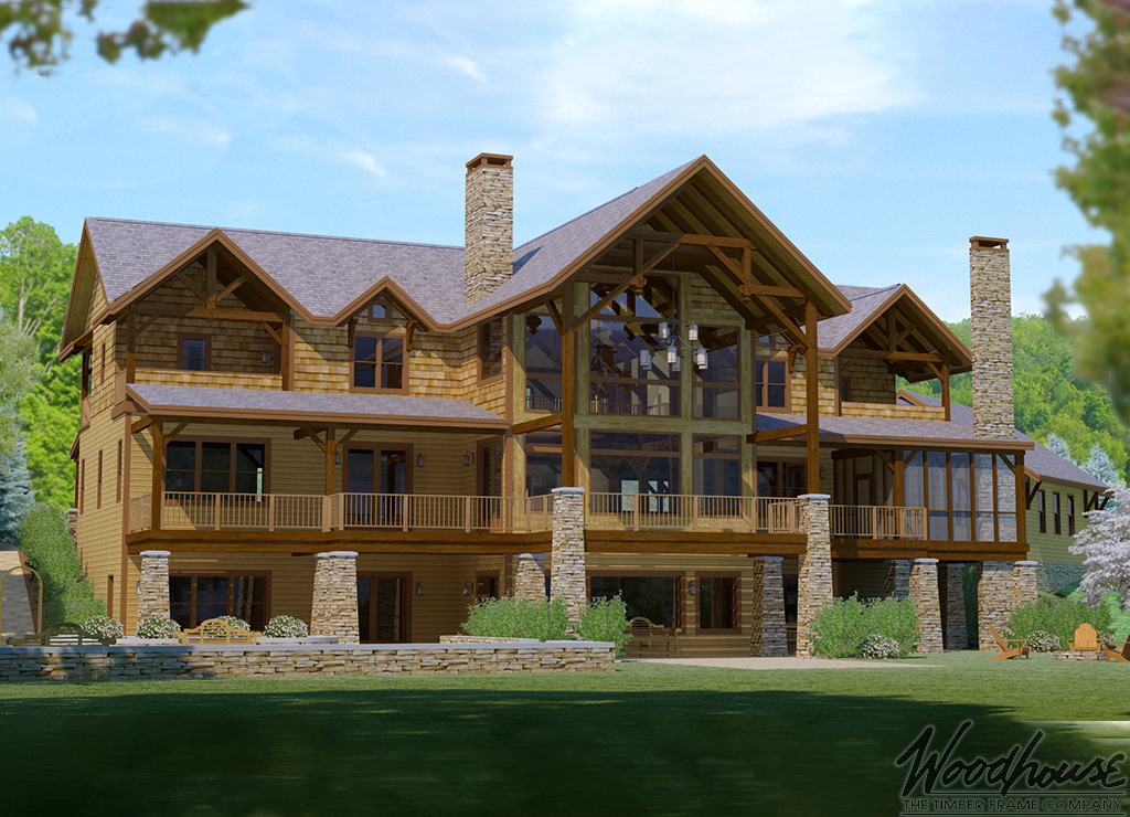 Greatcamp woodhouse the timber frame company for Adirondack style house plans