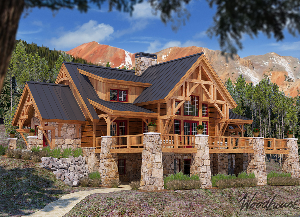 Mistymountain woodhouse the timber frame company for Mountain lodge home plans
