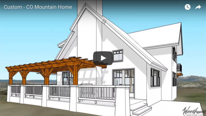 Custom home in colorado with a timber frame pergola for Custom a frame homes